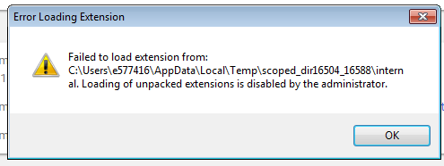 Fitnesse - Chrome popup 'Error Loading Extension' prevents