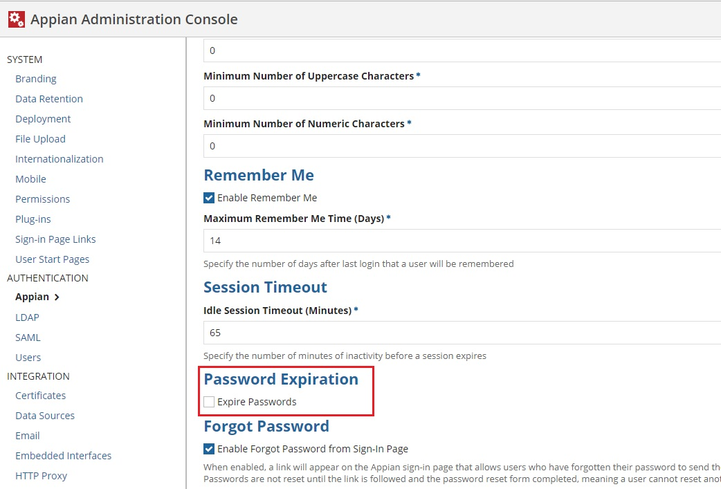 Never Expire password - Administration - Discussions