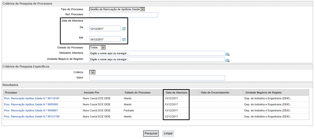 Records - User Filter based on input dates - User Interface