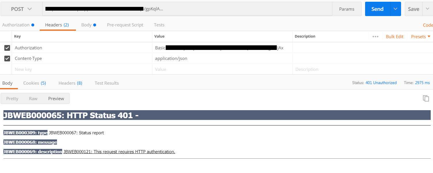 WebAPI authentication fails in Postman - Rules - Discussions