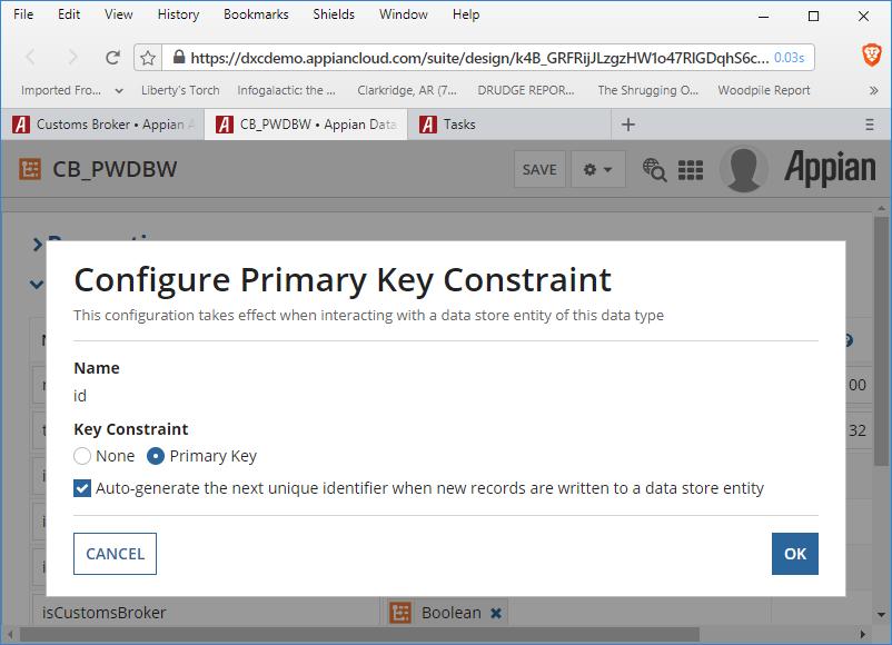 id primary key
