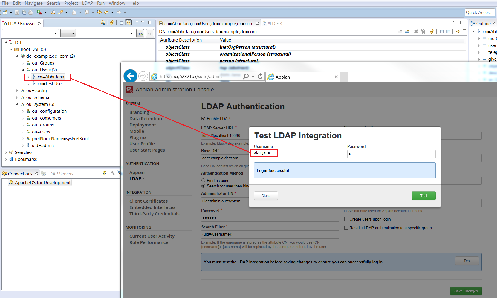 LDAP Authentication 'Login Failed' Error - Administration