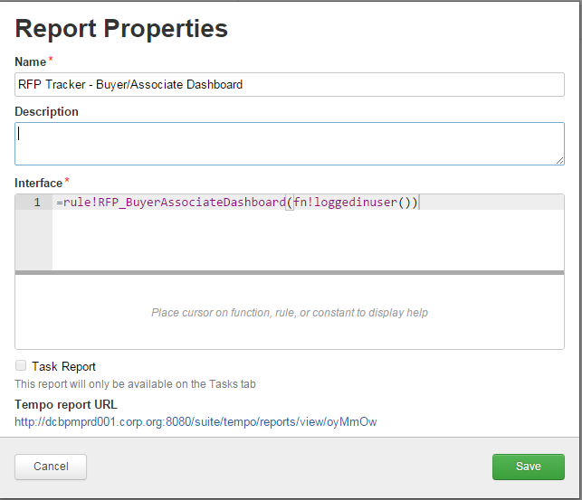 a way to create new tempo reports where the interface expression