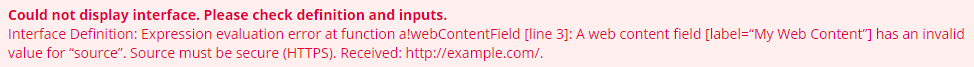 Web content HTTPS pink box error